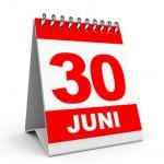 Calendar on white background. 30 June. 3D illustration.